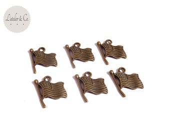 10 charms 18x15mm Bronze United States of America USA flag / GQ 15