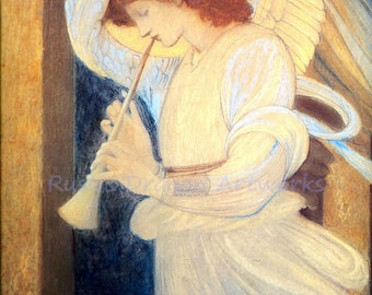 "Edward Burne Jones ""An Angel Playing a Flageolet"" 1878  Reproduction Print Angel Flute Christianity"