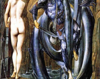 "Edward Burne Jones ""The Doom Fulfilled"" 1885  Reproduction Print Greek Mythology Woman Serpent"