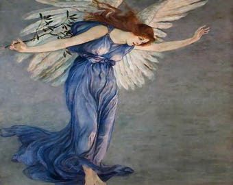 "Walter Crane ""The Angel of Peace"" 1900 Reproduction Digital Print Unity Peace on Earth"