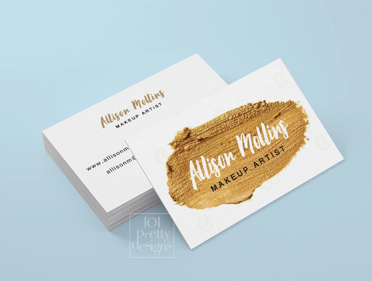 Gold paint business card makeup artist printable business card ...