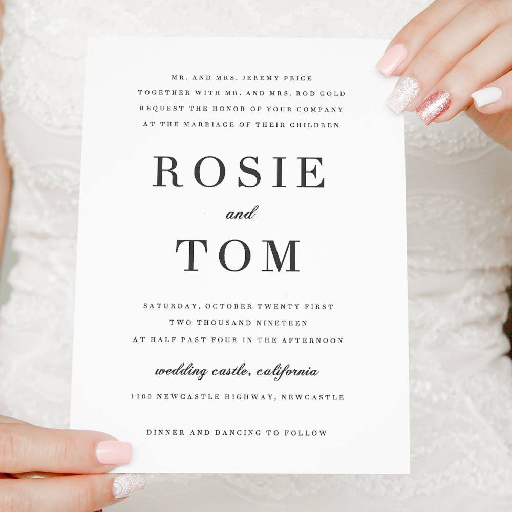 Elegant Wedding invitation, simple and classic wedding invitations ...