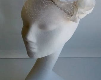 white silk 1950's inspired bridal headpiece with veil