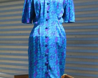 Papell Petites, Size 10 Blue Silk Dress