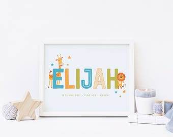 Baby Boy Personalised Name Zoo Print 8x10  |  Christening Gift | God Child Gift, Baby Keepsake |  Animal Nursery Print  | Framing available