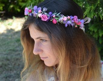 Purple flower crown Purple flower headband Wedding flower crown Bridal flower crown Flower girl halo Rustic wedding halo Wedding hair wreath