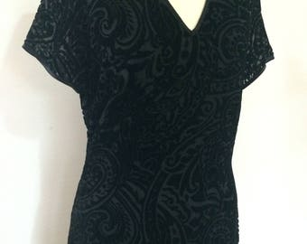 Vintage dress 80s St Bernard black velvet evening dress  with black devorre paisley floral pattern  size small