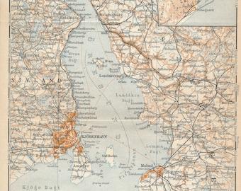 1929 Copenhagen Denmark Area Antique Map
