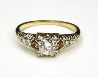 Antique Diamond Ring Vintage European Cut Diamond Engagement Ring Approx .25 Carats Center Pre-Engagement Ring Promise Ring