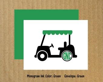 Golf Note Cards, Set of 10, Monogram Golf Cart, Monogram Note Cards, Golf, Thank You Cards, Golf Cart Note Cards, Golf Thank You Cards