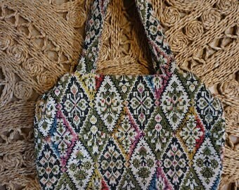 Vintage 60's Colorful Tapestry Handbag Medium Size