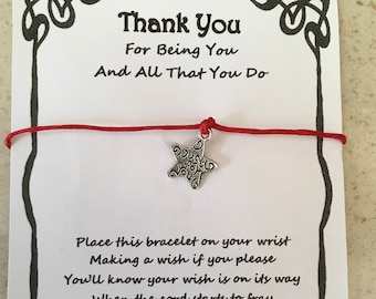 Thank you, Friend, best friend, sister, card, wish bracelet, charm, bracelet, gift, miles apart, quote, various charms and colours