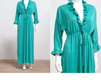 "1970's ""That Look"" California Teal Green Maxi Dress Gown • 70s Bohemian Maxi Dress • Hostess Maxi Dress"