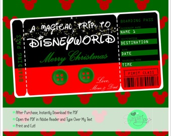 Printable Christmas Surprise Ticket to Disney (Disneyworld/Disneyland) Boarding Pass, Template, Digital File - You Fill and Print