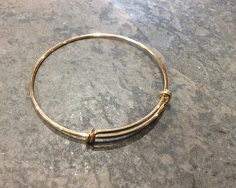 Smaller Size expandable wire bangle bracelet blanks in Light Gold finish Double Loop Style Perfect for smaller size wrists
