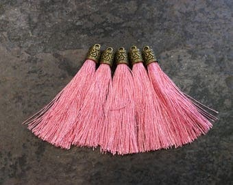 Light Pink  Silk tassels with Antique Bronze Filigree Caps Beautiful tassels for Jewelry Making Spring Color Tassels