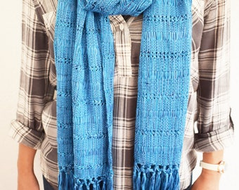 Soft, Casual Handwoven 100% Cotton Scarf Made in Guatemala