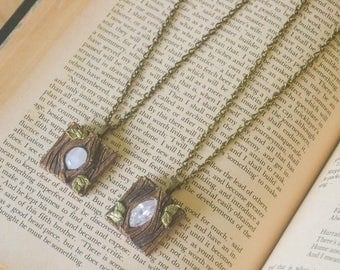 Moonstone or Swarovski Polymer clay wood Fantasy Necklace