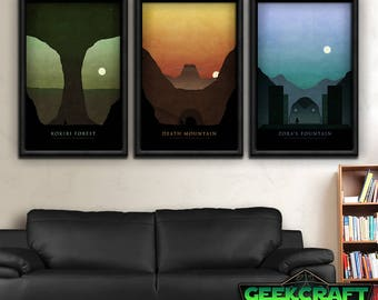 Legend of Zelda, Zelda Art, Zelda Prints, Zelda Game, Zelda, Link, Zelda Poster, Ocarina, Time, OOT, Kokiri, Zora, Death Mountain, Print Set