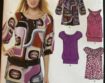 New Look 6780 - Easy to Sew Scoop or V Neck Top with Banded Hem Option - Size 6 8 10 12 14 16