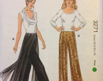 Kwik Sew 3271 Pull On Evening Pants with Flowing Chiffon Panels Option - Size XS S M L XL