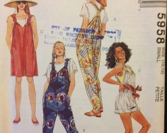 McCalls 5958 Easy Romper or Overalls with Tube Gathered Straps - Size 10 12
