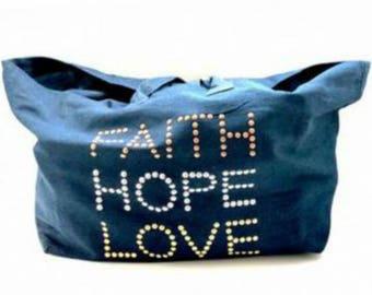 Faith Love Hope Denim Tote-Hipchik