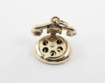 Vintage 14K Yellow Gold Rotary Phone Charm Pendant - 3D Telephone Pendant