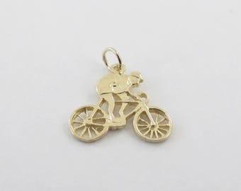 14k Yellow Gold Bike Charm - 14k Yellow gold Bicycle Pendant