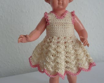 Antique German vintage celluloid doll Inge Sir, 18 1/2 / 19 with crochet dress