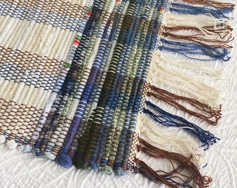Blue & White Wide Striped Rug | Handwoven Rug | Rag Rug | Throw Rug |