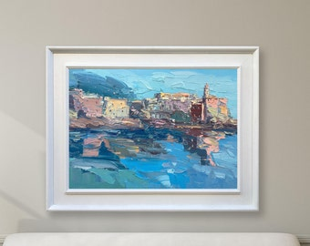 Italy Abstract Seascape Artwork Oil Painting On Canvas Palette Knife Abstract Cityscape Mediterranean Town Art