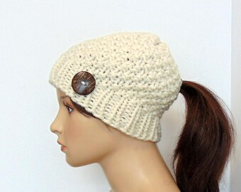 Ponytail Hole Hat - Ponytail Beanie - Chunky Knit - Winter Hat with Hole -  Low Bun Hole - Gift for Her - Made In Alaska - Ivory Cream