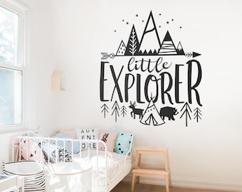 Little Explorer Wall Decal - Nursery Decal, Wall Quote, Modern Decal, Cute Wall Decor, Adventure Decal, Nursery Decor, Woodland Nursery