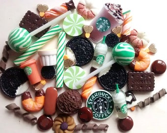 50pcs decoden cabochon set - frappe drink starbucks - candy cabs - flakes - kawaii - scrapbooking -bow making - deco - craft supplies