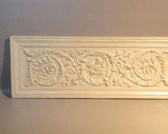 """29"""" Wall Plaque Sculpted Plaster of Scrolls, Flowers & Foliage By Hen-Feathers"""
