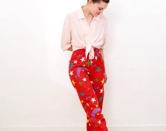 80s Red High Waisted Trousers With Star and Moon Detail Size Small/ Medium