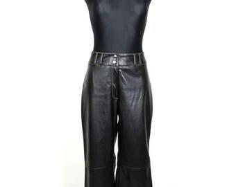 Vintage  90's  Black Faux Vegan Leather Boot Cut Pants Trousers  Size M L