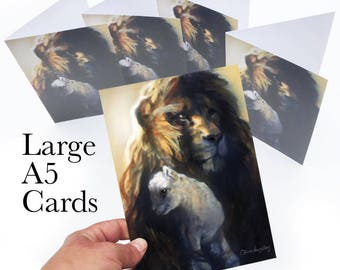 Lion and Lamb pack of 5 greetings cards (large A5 cards)