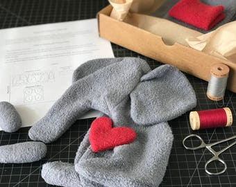 Organic Stuffed Elephant Kit (Option 1 with Heart) with PDF Sewing Pattern and Tutorial — Plush Elephant Kit — DIY Baby Gift