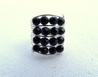 Steel ring and faceted natural stones - Black -