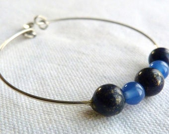 Blue Bangle in silver steel and natural stones.