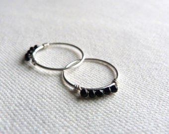 Minimalist black and silver - 54 T - 925 sterling silver ring and natural stones / black agate ring