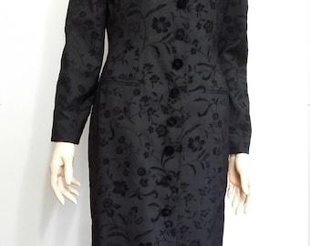 Black opera coat, S,M, black velvet coat, long coat, winter coat, formal coat, formal jacket, black jacket, velvet jacket, damask jacket