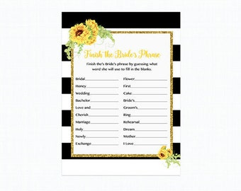 Sunflower Finish the Brides Phrase, Bridal Shower Game, Sunflowers Black and White Stripe Gold  Printable 205