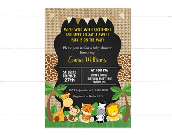 Safari Baby Shower Invitation, Gender Neutral, Burlap Animal, Jungle Baby Shower Invitation, Girl Boy Printable Digital JPEG 502