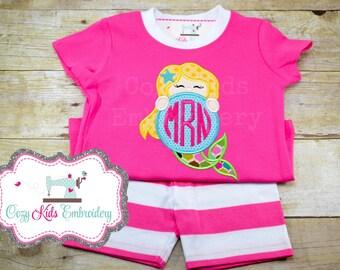 Mermaid Pajamas, Mermaid PJ, Girl's Mermaid Pajamas, Vacation Pajamas, Summer Pajamas, Pink Pajamas, Monogram Pajamas, Custom Pajamas