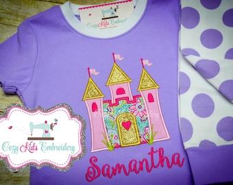 Princess Pajamas, Castle Pajamas , girl pajamas, girl pj, girls pajamas, girls pjs, Personalized pajamas, boutique pj, applique, embroidery
