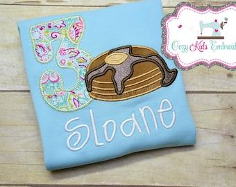 Pancake Shirt, Birthday Shirt, Girls Birthday Shirt, Pancake Birthday Shirt, Pancake and Pajamas, Pancake Party Shirt, Pancake Embroidery