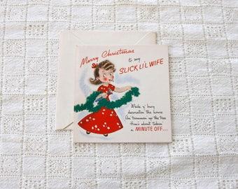 vintage 1940s unused Christmas card <> unused vintage Christmas card for wife <> vintage Christmas card with a husband and wife theme